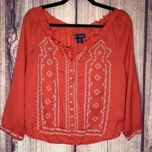 American Eagle red long sleeve embroidered tie top